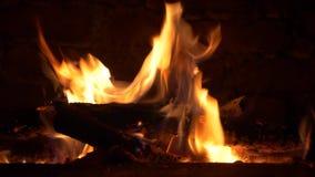 Four mis le feu en bois banque de vidéos