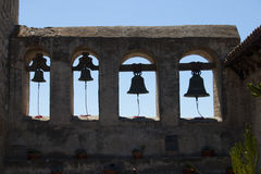 Four mission bells at the mission Stock Images