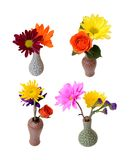 Four mix flowers vases Stock Photo