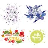 Four mnemonics on the concept of Spring season Royalty Free Stock Photo