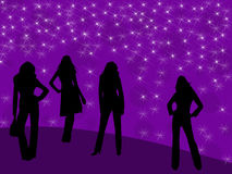 Four models. Silhouettes of four models on background with stars Stock Photography