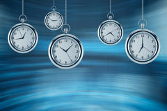 Four models of pocket watches are hovering in the air. A concept of a value of time in business. A contemporary blue background. 3 Stock Images