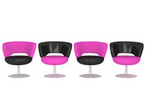 Four modern armchairs, isolated. Four modern black and pink armchairs, isolated on white background, 3d illustrations Stock Photos