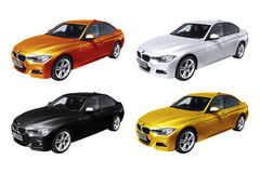 Four modern cars, BMW 3 (F30) Stock Image