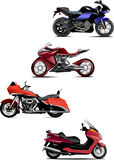Four  modern motorcycle Royalty Free Stock Images