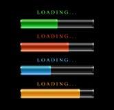 Four modern preloaders or progress loading bars Stock Image