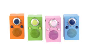Four modern radio set with retro design, colored Royalty Free Stock Photo