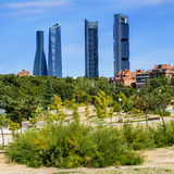Four modern skyscrapers. (Cuatro Torres) Madrid, Spain Stock Image