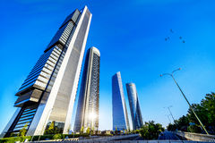 Four modern skyscrapers. (Cuatro Torres) Madrid, Spain Royalty Free Stock Photo