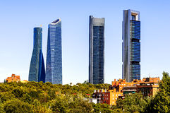Four modern skyscrapers. (Cuatro Torres) Madrid, Spain Stock Images