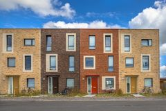 Four Modern Social housing apartments. Four Modern Social housing in terra colors containing modest family apartment houses in Ypenburg, The Hague, Netherlands Stock Images