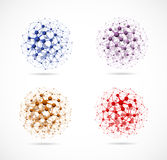 Four molecular spheres Stock Photo