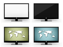 Four monitors set rendered isolated on white Stock Photo