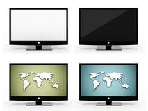 Four monitors set rendered isolated on white. Background Stock Photo