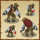 Four monkey monster costumes. Cartoon character Stock Images