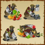 Four monkey monster with the loot food. Cartoon character Royalty Free Stock Images