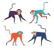 Four monkeys icons Royalty Free Stock Photos
