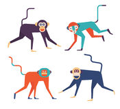 Four monkeys icons. Set of four cute Monkeys. 2016 New Year Symbol Royalty Free Stock Photos