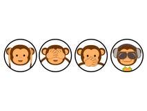 Four monkeys. Vector illustration. Funny evolution card Royalty Free Stock Photos