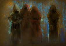 Four monks Royalty Free Stock Photo