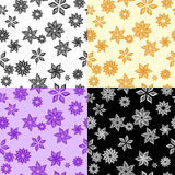 Four monochrome flower patterns Stock Photo