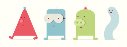 Four monsters. Set of four kawaii monsters, flat style, vector cartoon illustration Stock Photo