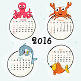 Four month calendar of 2016. Creative 2016 Calendar of January, February, March and April with water animals Royalty Free Stock Photos