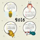 Four month calendar of 2016. 2016 Calendar of May, June, July and August months with insects royalty free illustration