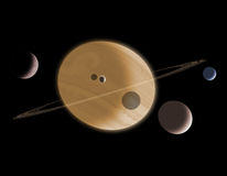 Four Moons. A gas giant planet ringed with debris and with four orbiting moons Stock Photo