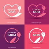 Four Mothers Day greeting cards Royalty Free Stock Photos