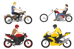 Four motorcyclist with accessories set. helmets, backpack and motor oil. Royalty Free Stock Photography
