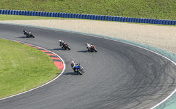 Four motorcyclists on highway Motoarena in Germany Royalty Free Stock Image