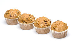 Four Muffin. Delicious homemade muffins in white background Royalty Free Stock Images
