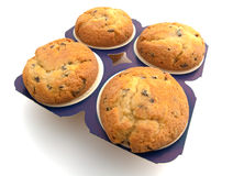 Four muffins. Isolated on the white background Royalty Free Stock Photos