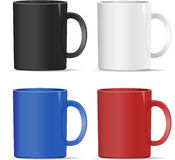 Four mugs of various colors. Vector eps10 Stock Image