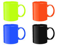 Four mugs of various colors Stock Photo