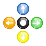 Four multi color arrow. And orb Royalty Free Stock Images