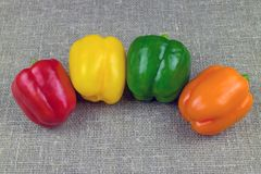 Four multi-colored bell peppers, sweet paprica. Stock Photos