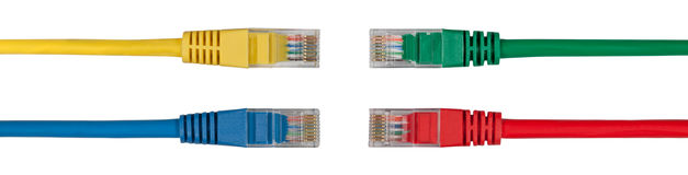Four Multi Colored Network Cables Royalty Free Stock Image