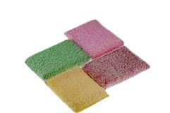 Four multi-coloured rags are isolated on the white Royalty Free Stock Images