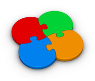 Four multicolor puzzles Stock Photography