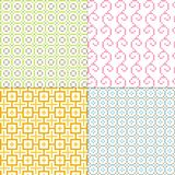 Small geometric patterns. Four multicolor small geometric patterns royalty free illustration