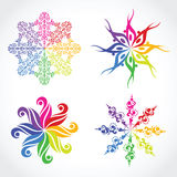 Four multicolor snowflake Royalty Free Stock Images