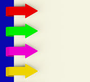 Four Multicolored Arrow Tabs Over Paper Royalty Free Stock Image