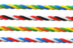 Four Multicolored computer cables Stock Image