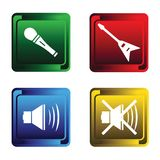 Four musical buttons Royalty Free Stock Images