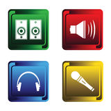 Four Musical Buttons Stock Photo