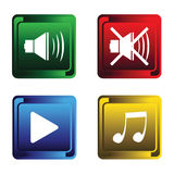 Four musical buttons Stock Image
