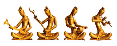 Four Musicians Wood Carved with Thai Style Stock Photo