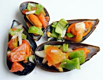 Four mussels Royalty Free Stock Photos